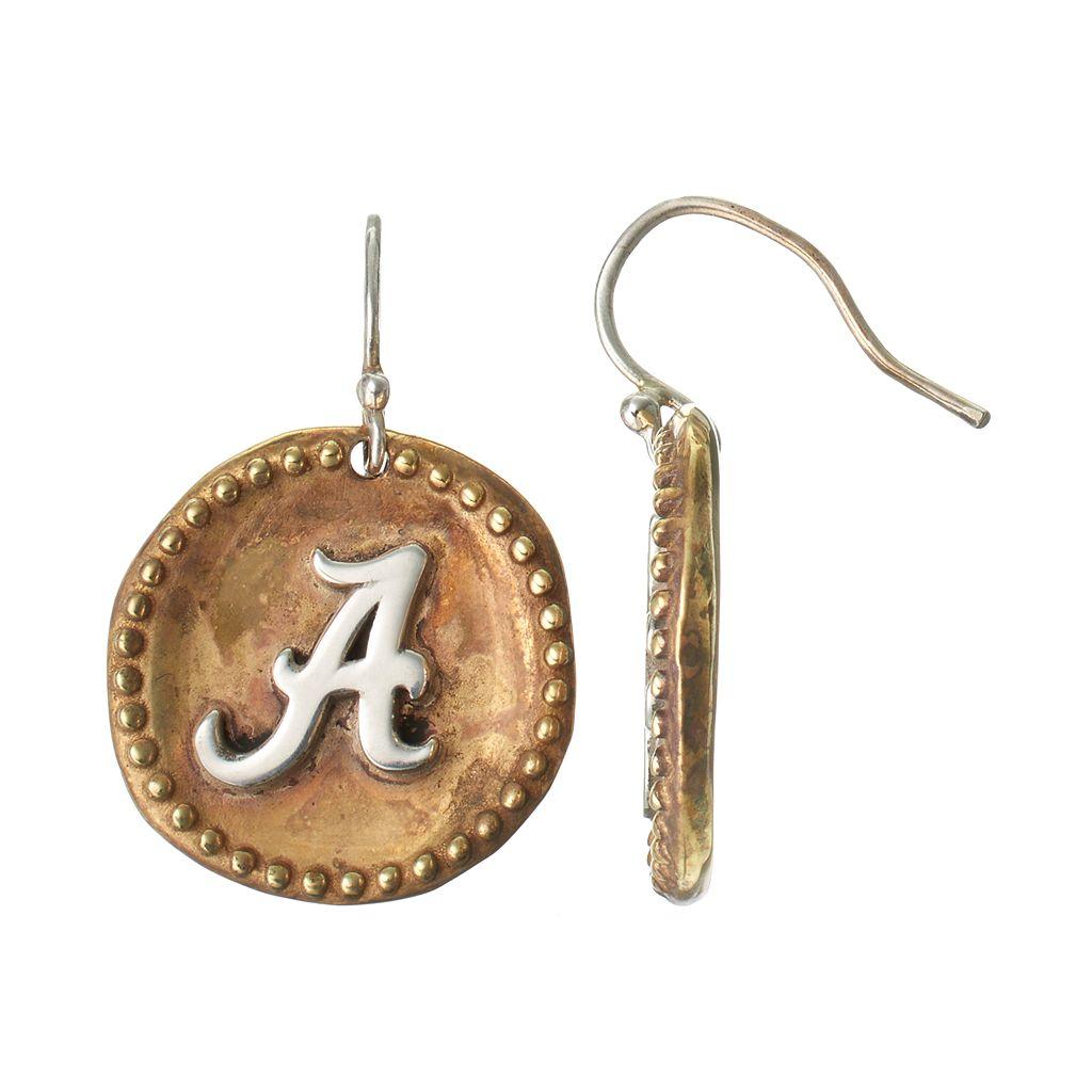 Dayna U Sterling Silver Alabama Crimson Tide Antiqued Coin Earrings