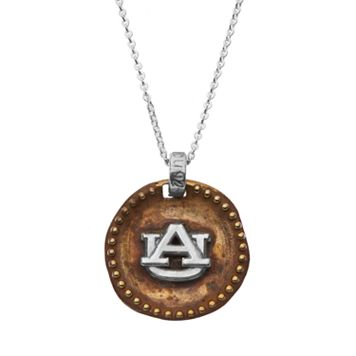 Dayna U Sterling Silver Auburn Tigers Antiqued Coin Pendant Necklace