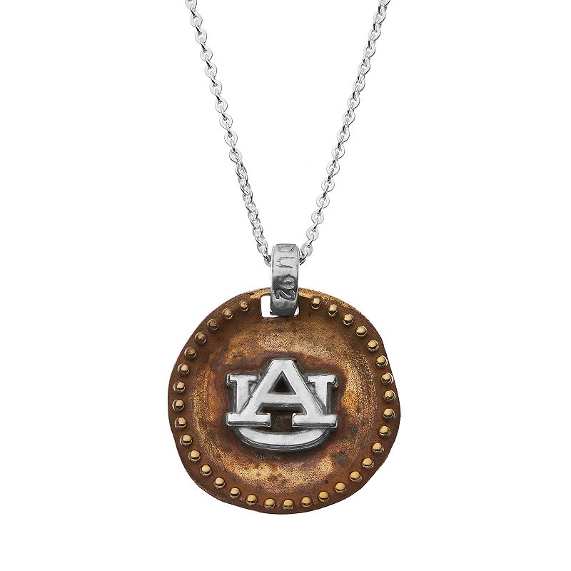 Dayna U Sterling Silver Auburn Tigers Antiqued Coin Pendant Necklace, Women's, Size: 18, Grey