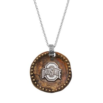 Dayna U Sterling Silver Ohio State Buckeyes Antiqued Coin Pendant Necklace