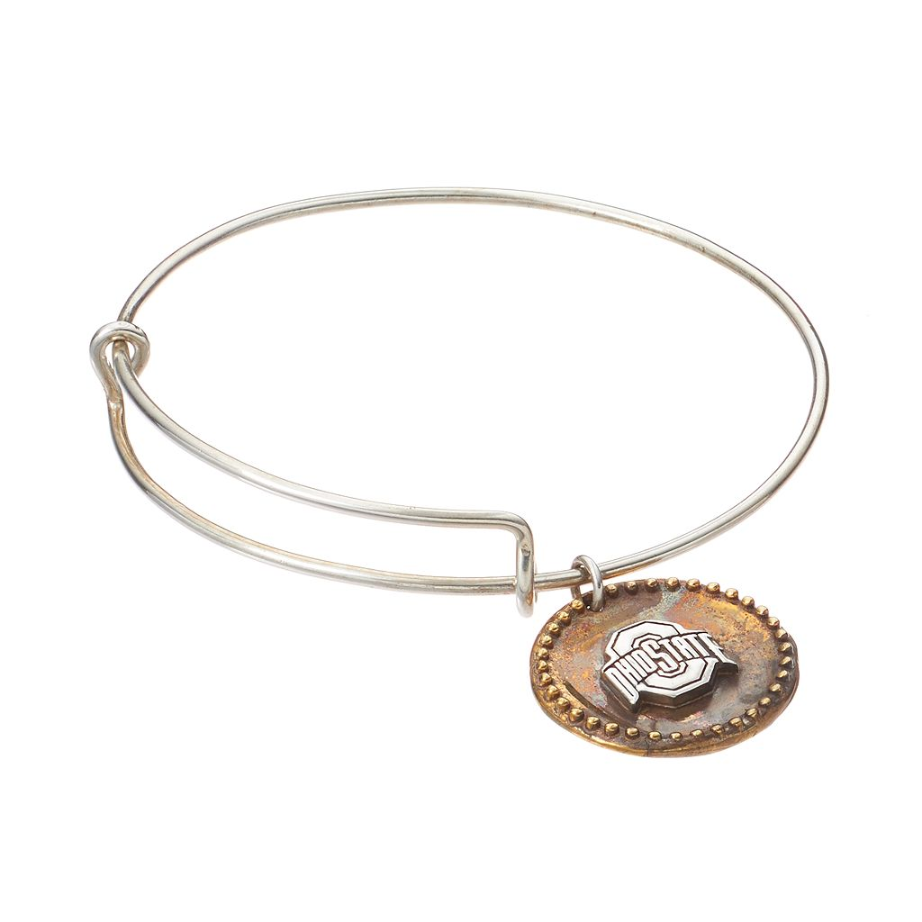 Dayna U Sterling Silver Ohio State Buckeyes Antiqued Coin Bangle Bracelet
