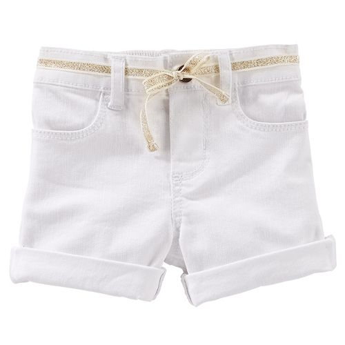 Girls 4-6x OshKosh B'gosh® Roll-Cuff Twill Shorts with Glitter Belt