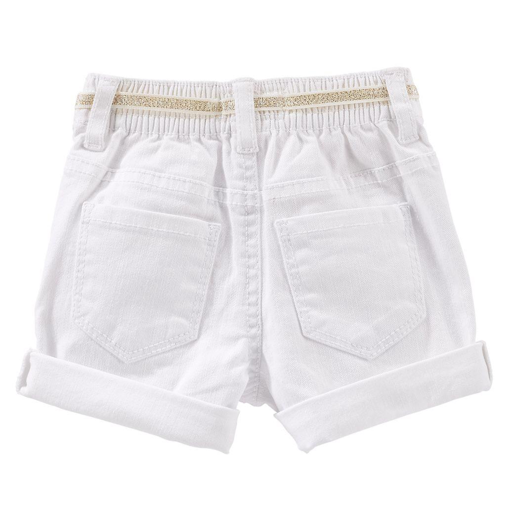 Girls 4-6x OshKosh B'gosh® Roll-Cuff Twill Shorts with Glitter Belt