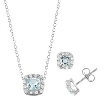 Sterling Silver Blue Topaz & Cubic Zirconia Halo Jewelry Set