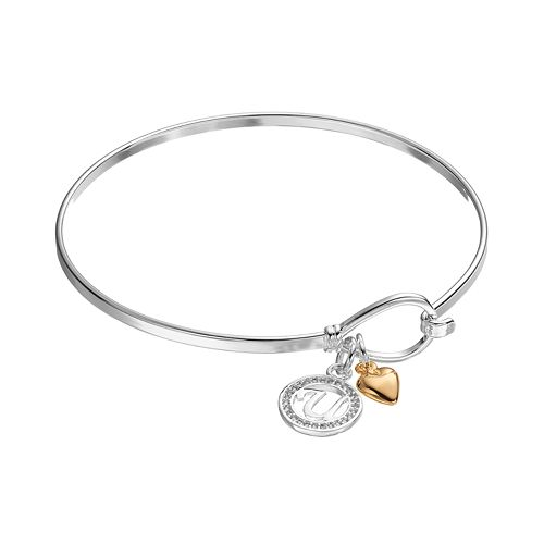 Cubic Zirconia Initial & Heart Charm Bangle Bracelet