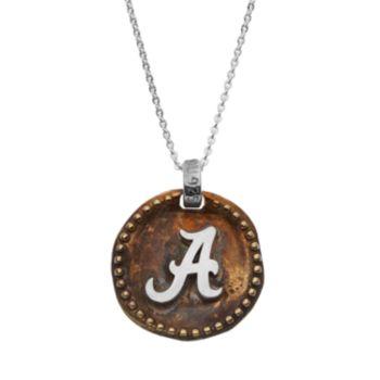 Dayna U Sterling Silver Alabama Crimson Tide Antiqued Coin Pendant Necklace