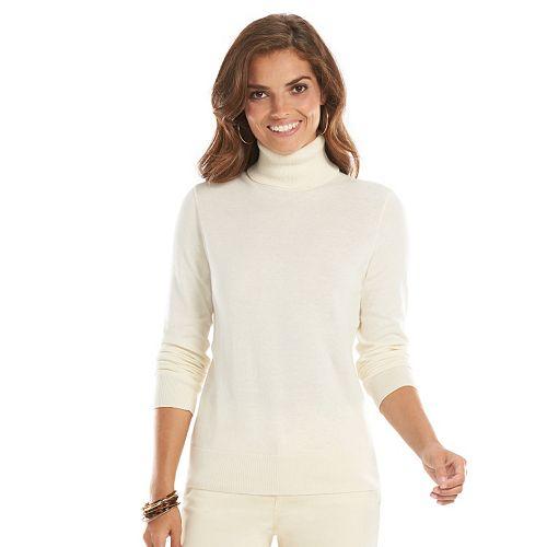 Women's Chaps Solid Turtleneck Sweater