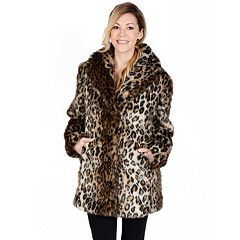 Women's Excelled Leopard Faux-Fur Coat