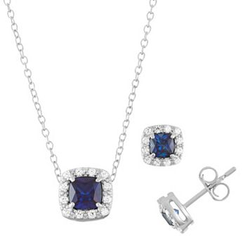 Sterling Silver Lab-Created Sapphire & Cubic Zirconia Halo Jewelry Set