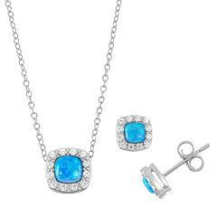 Sterling Silver Lab-Created Blue Opal & Cubic Zirconia Halo Jewelry Set