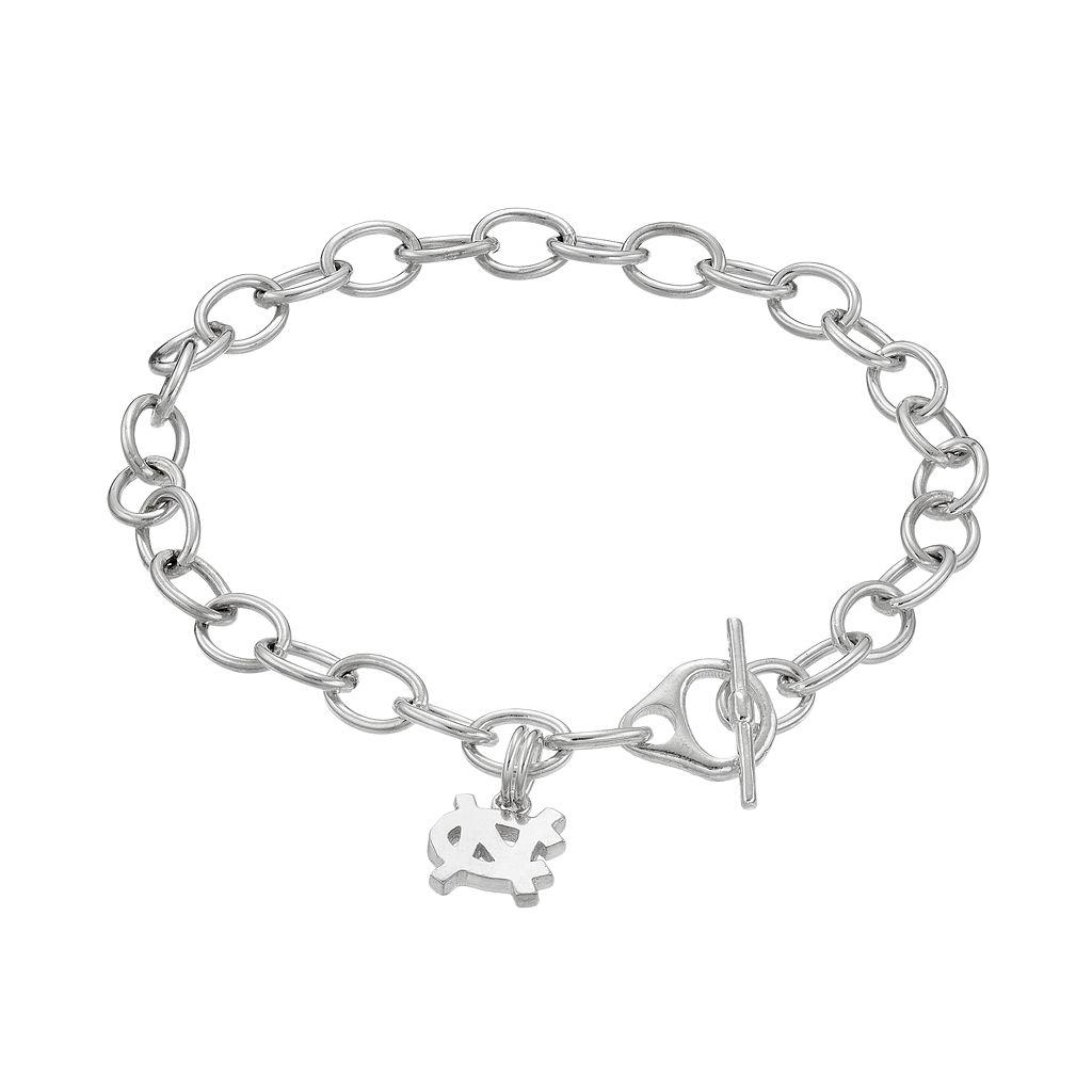 Dayna USterling Silver North Carolina Tar Heels Charm Toggle Bracelet