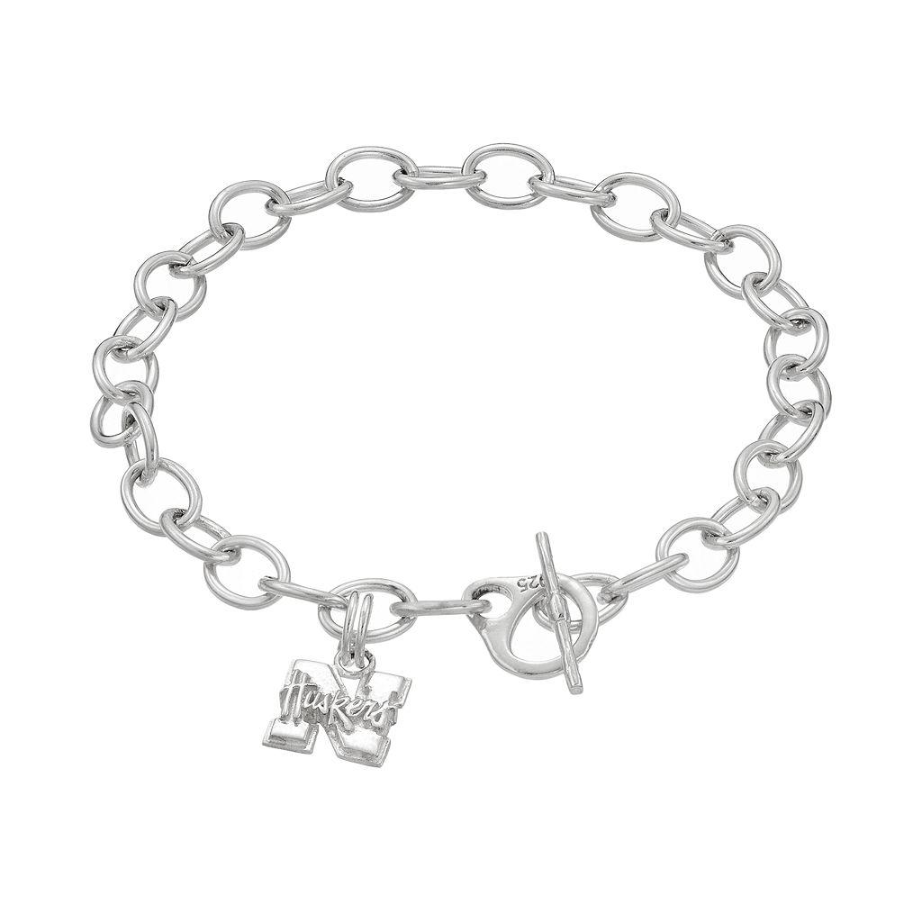 Dayna USterling Silver Nebraska Cornhuskers Charm Toggle Bracelet