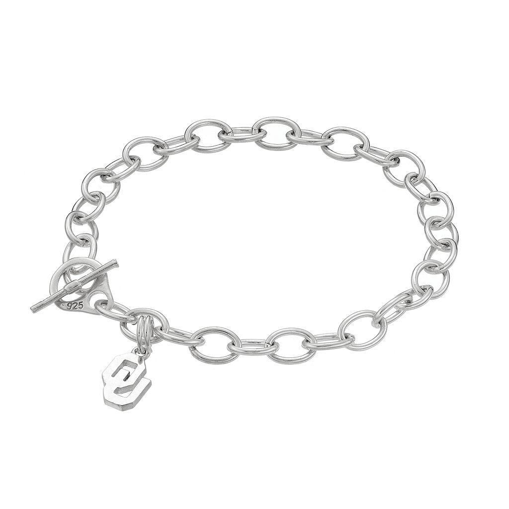 Dayna USterling Silver Oklahoma Sooners Charm Toggle Bracelet