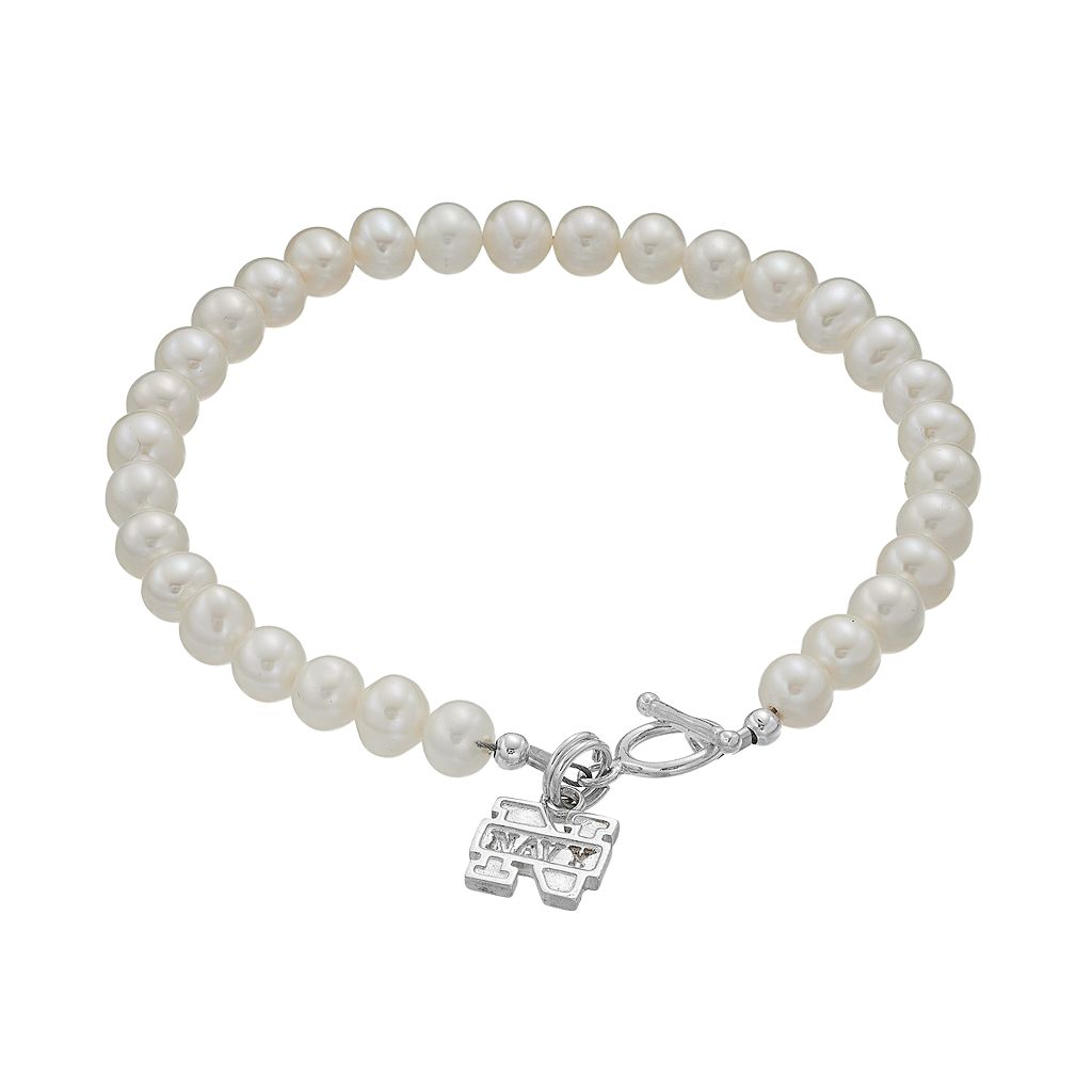 Dayna UUS Navy Sterling Silver Freshwater Cultured Pearl Toggle Bracelet