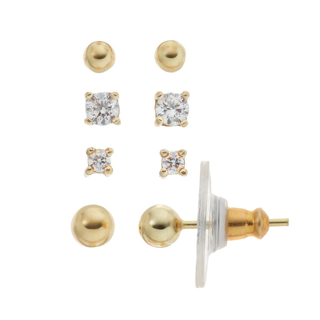 14k Gold Over Silver Cubic Zirconia Ball Stud Earring Set