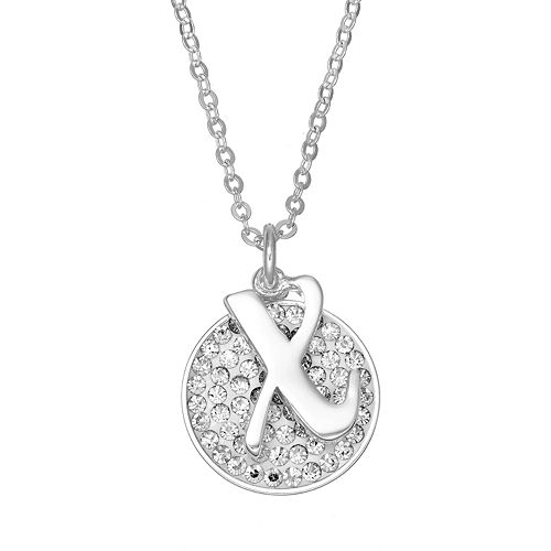 Crystal Initial & Disc Pendant Necklace