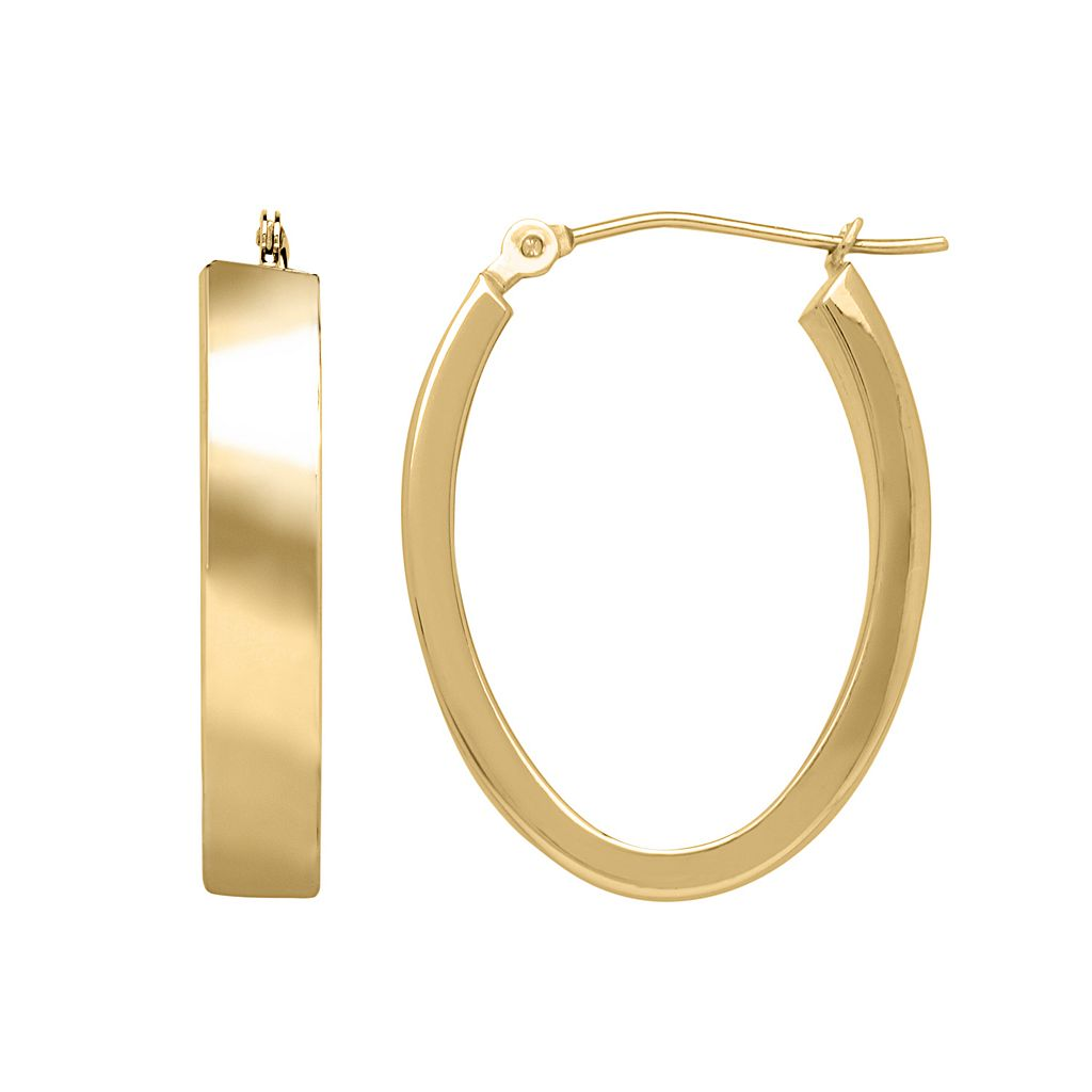 Everlasting Gold 14k Gold Oval Hoop Earrings