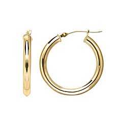 Everlasting Gold 14k Gold Tube Hoop Earrings