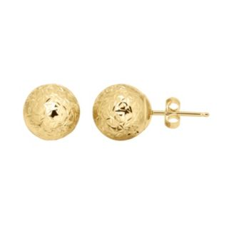 Everlasting Gold 14k Gold Textured Ball Stud Earrings