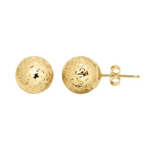 Everlasting Gold 14k Gold Textured Ball Stud Earrings