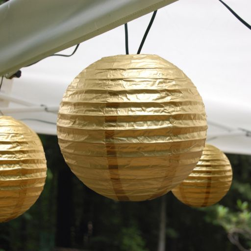 LumaBase Luminarias 10-Piece Electric Paper Lantern and String Lights Set