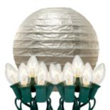 LumaBase Luminarias 10-Piece Electric Paper Lantern and String Lights Set