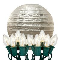 LumaBase Luminarias 10 pc Electric Paper Lantern and String Lights Set