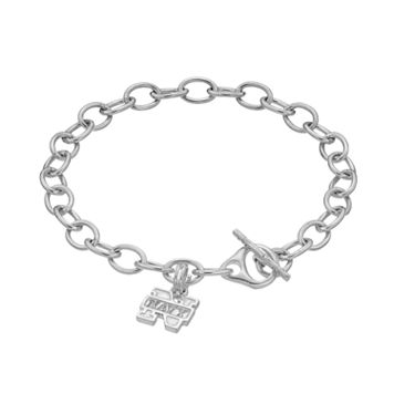 Dayna U Sterling Silver Navy Midshipmen Charm Toggle Bracelet