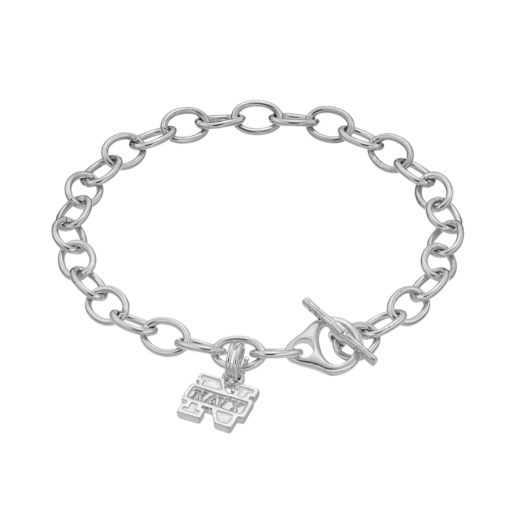 Dayna USterling Silver Navy Midshipmen Charm Toggle Bracelet