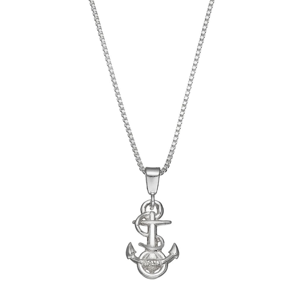 Dayna U US Navy Anchor Sterling Silver Pendant Necklace