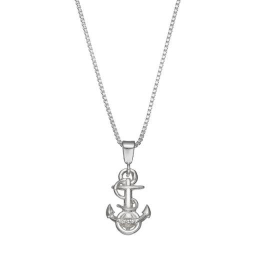 Dayna U US Navy Anchor Sterling Silver Pendant Necklace