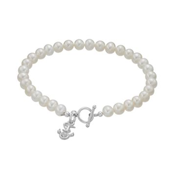 Dayna U US Navy Anchor Sterling Silver Freshwater Cultured Pearl Toggle Bracelet