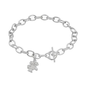 Dayna U Sterling Silver Wisconsin Badgers Charm Toggle Bracelet