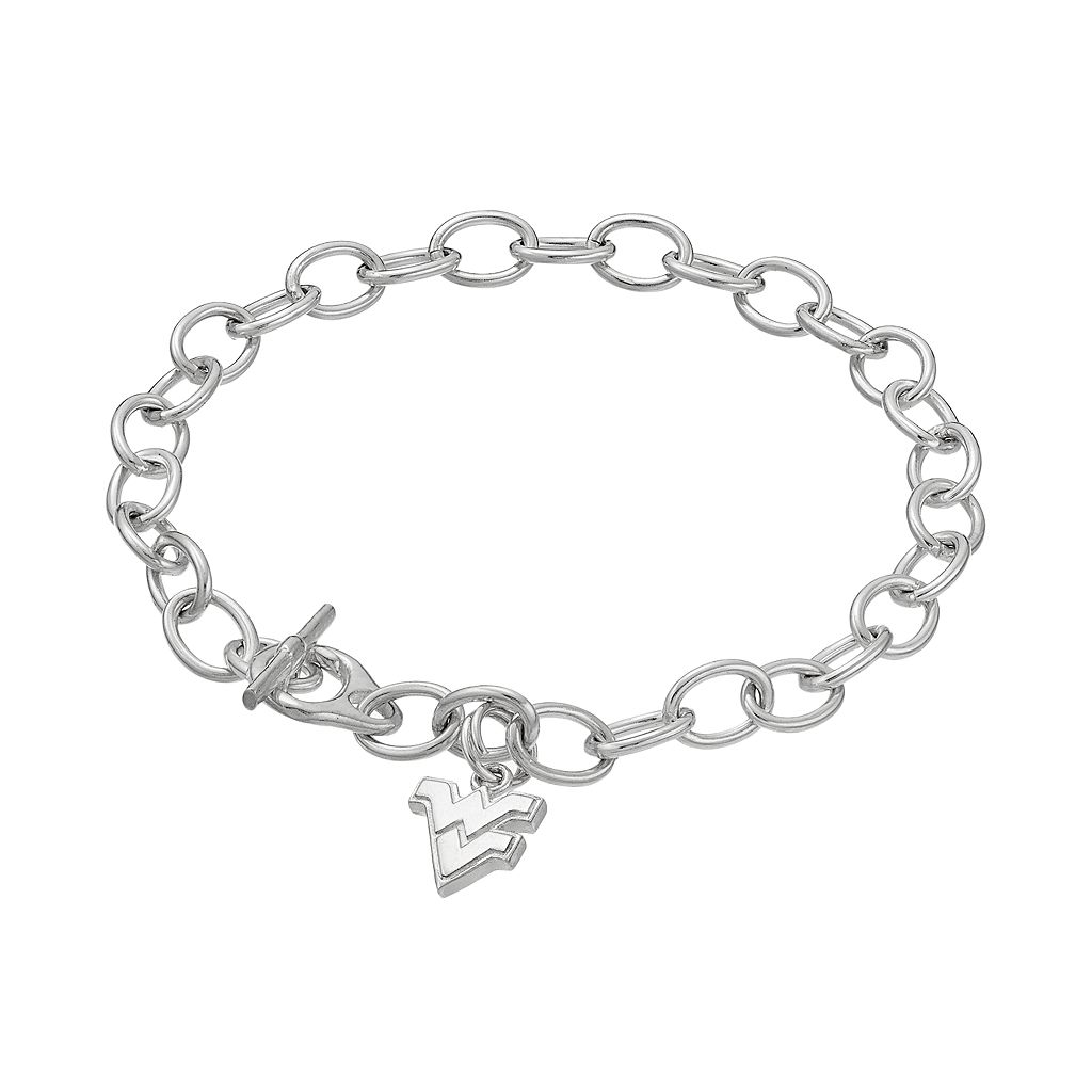 Dayna USterling Silver West Virginia Mountaineers Charm Toggle Bracelet