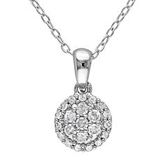 1/4 Carat T.W. Diamond Sterling Silver Cluster Pendant Necklace