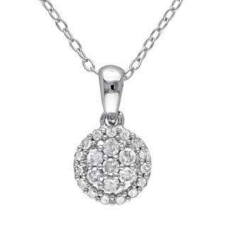 Stella Grace 1/4 Carat T.W. Diamond Sterling Silver Cluster Pendant Necklace