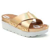 Juicy Couture Metallic Crisscross Platform Sandals