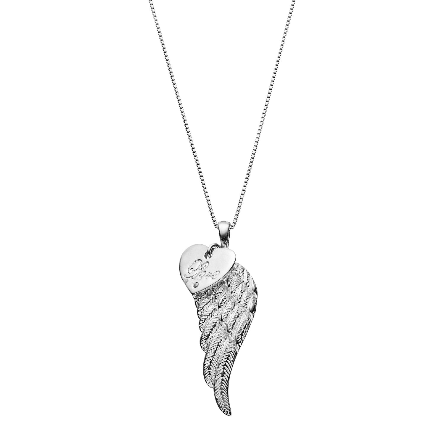 Silver Angel Wing Pendant with Diamond Accent