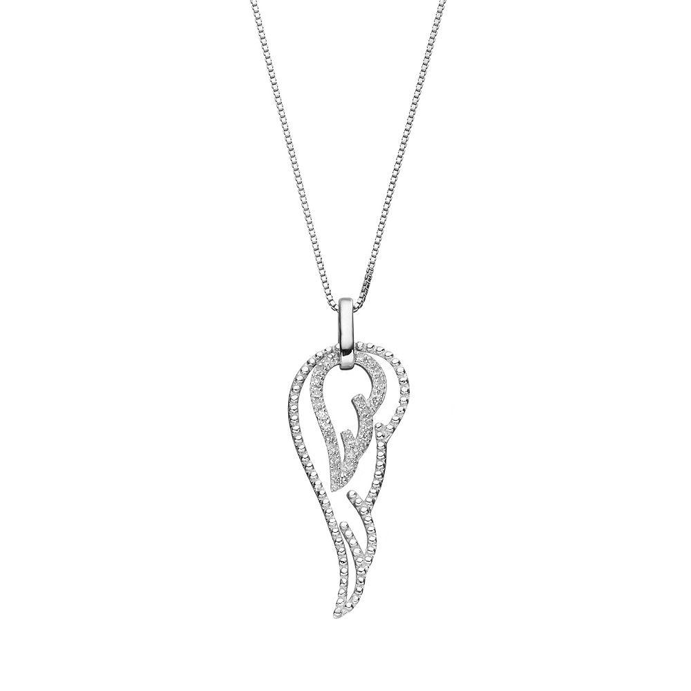 57716a60c Sterling Silver 1/6 Carat T.W. Diamond Angel Wing Pendant