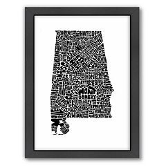 Americanflat Joe Brewton Alabama Typography Framed Wall Art