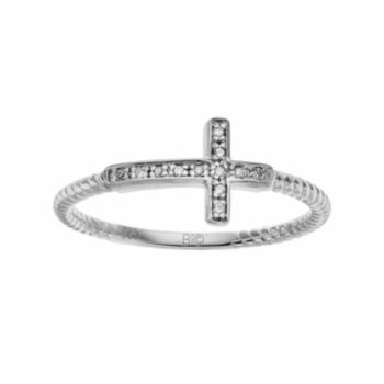 Sterling Silver Diamond Accent Sideways Cross Ring