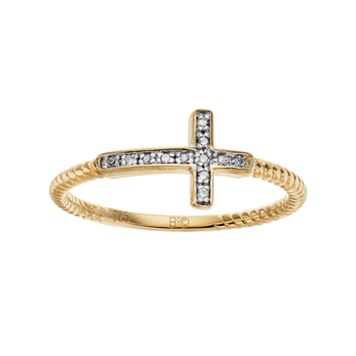 14k Gold Over Silver Diamond Accent Sideways Cross Ring