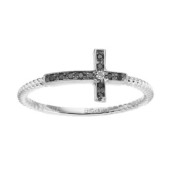 Sterling Silver Black & White Diamond Accent Sideways Cross Ring