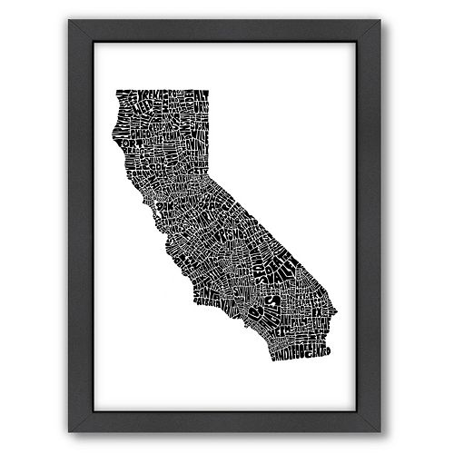 Americanflat Joe Brewton California Typography Framed Wall Art