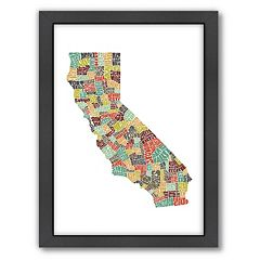 Americanflat Joe Brewton California Typography Framed Wall Art