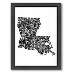 Americanflat Joe Brewton Louisiana Typography Framed Wall Art