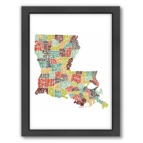 Americanflat Joe Brewton Louisiana Typography Framed Wall Art