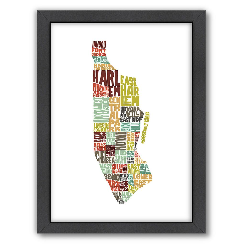 Americanflat Joe Brewton Manhattan, New York Typography Framed Wall Art