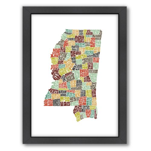 Americanflat Joe Brewton Mississippi Typography Framed Wall Art