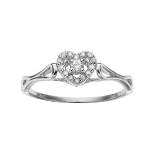 Sterling Silver 1/10 Carat T.W. Diamond Heart Halo Promise Ring